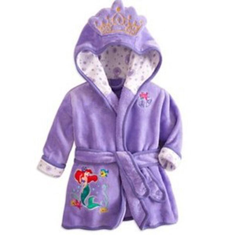 Kids Girls Boys Mickey Minnie Hooded Dressing Gown Bath Robe Nightwear 1-6 Yrs