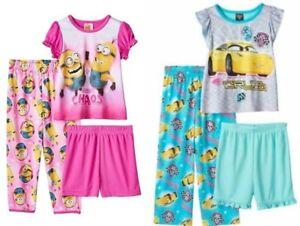 Minions Girls Minions 3 Piece Pajama Set Short Shirt Pants Size 4T