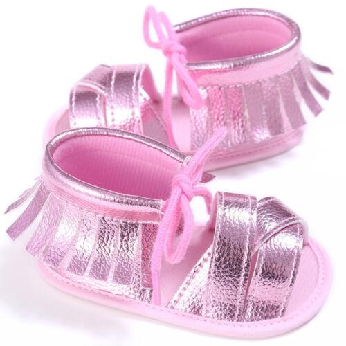 Newborn Girls Boys Crib Soft Sole Anti-slip Baby Sneakers Tassel Sandals Shoes