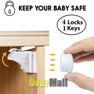 New-Magnet-Child-Locks-4-Locks-1-Keys-Cabinet-Baby-Safety-Invisible-Kids-Proof