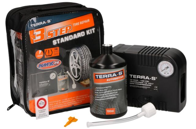 TERRA-S Reifenpannenset Standard Kit pour Voitures,Caravane,Caravan,Remorque