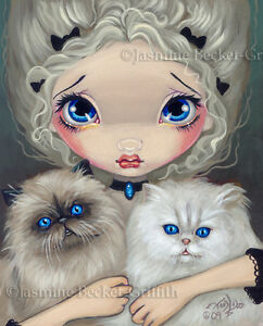Jasmine-Becket-Griffith-art-print-SIGNED-Two-Fluffy-Kitties-cats-fairy-big-eye