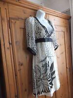 stunning Ted Baker silk Cream & black dress size 10