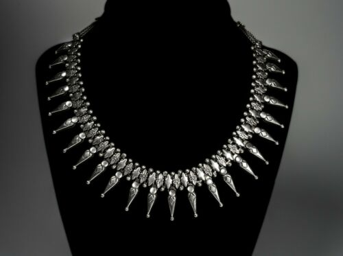 Vintage Sterling Silver Spiked Choker Necklace