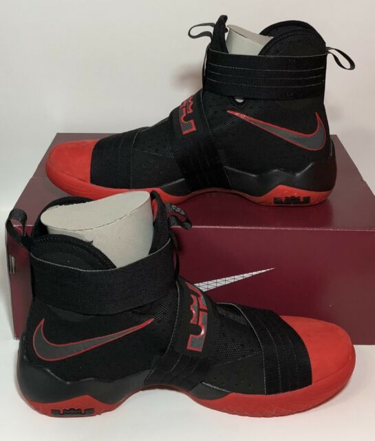 uk availability 1f834 e14e8 Nike Lebron Soldier 10 SFG Basketball Sneakers Black Red 844378 060 Men's  11.5