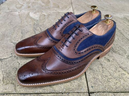 Navy Mcclean Suede Wing Vitello Ebano mano a Brogue 7 Tip Uk Dipinto Shoes Barker RSqvwq