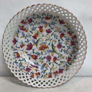 Germany Vintage Porcelain Floral Reticulated Pierced Bowl Wave Edge Gold Trim