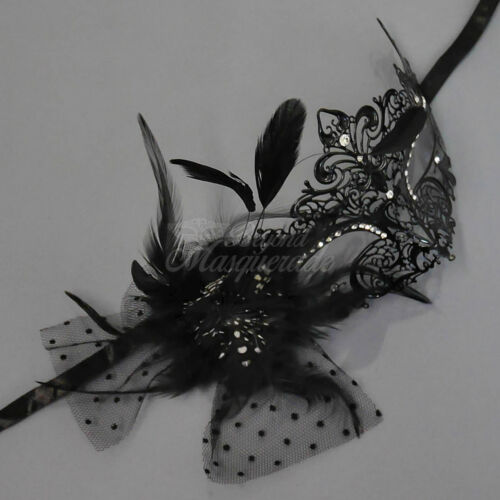 Luxury Metal Venetian Masquerade Mask with Feathers for Women M7110 Black
