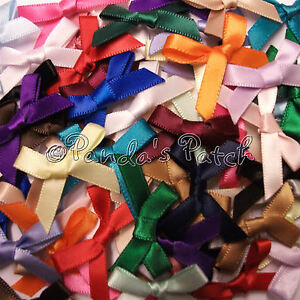 Satin-Ribbon-Bows-3mm-7mm-or-15mm-Choose-Colour-Width-and-Pack-Size-Free-P-amp-P