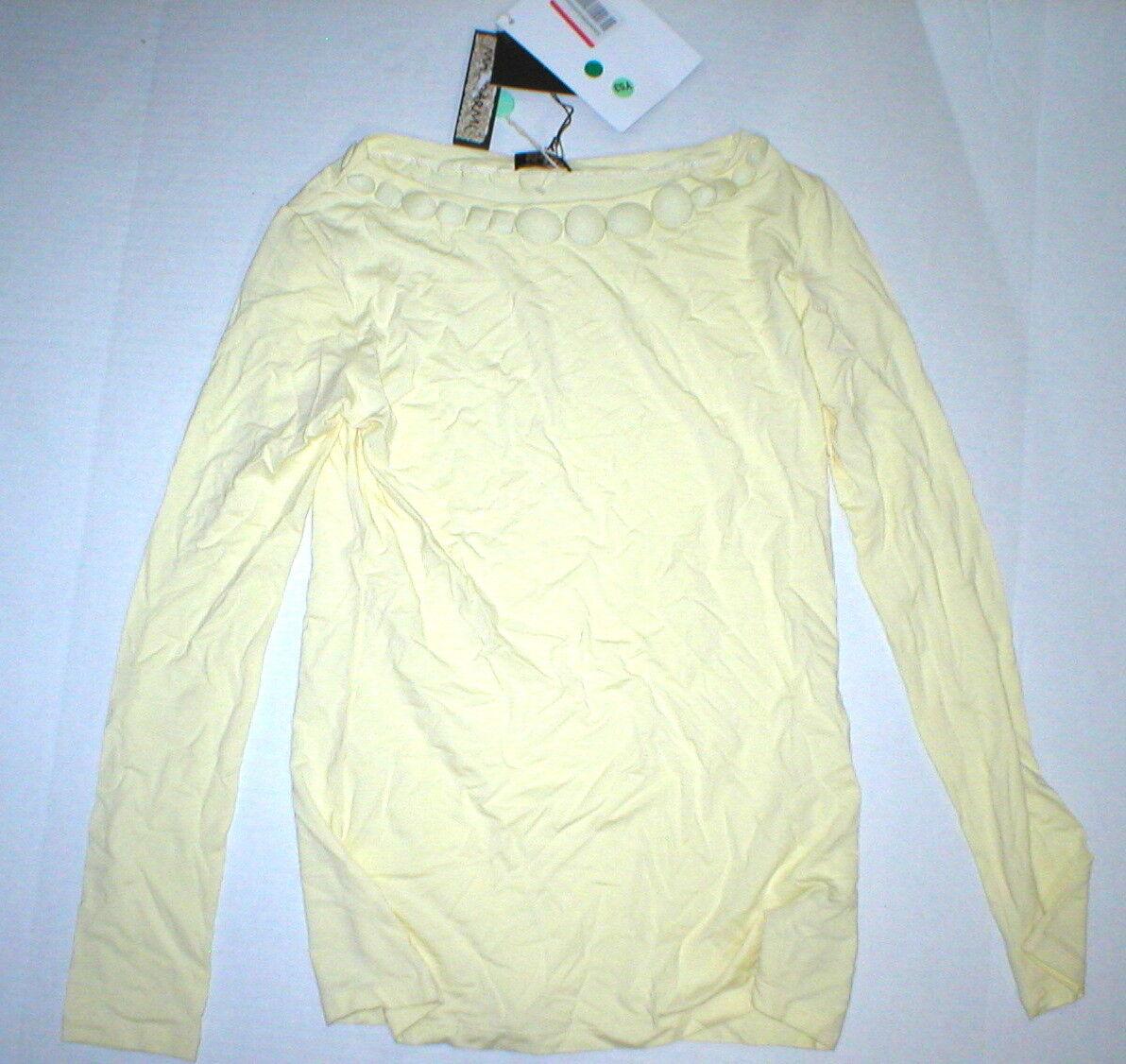 NWT New damen Maliparmi Knit Top Gelb XS Pale Neck Stone Accents LS Designer