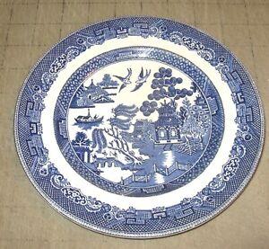 "Vintage WILLOW Johnson Bros England ASIAN DESIGN 8"" Blue Stone China Plate UK"
