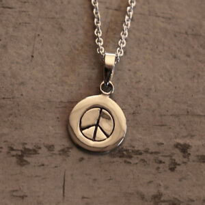 Peace-Symbol-Necklace-Fine-Sterling-Silver-New-Jewelry-Shipping-18-034-Chain