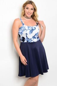 3b9b5e86f1e7 WOMEN'S PLUS SIZE SEXY NAVY BLUE AND WHITE FLORAL DRESS 3XL NEW | eBay