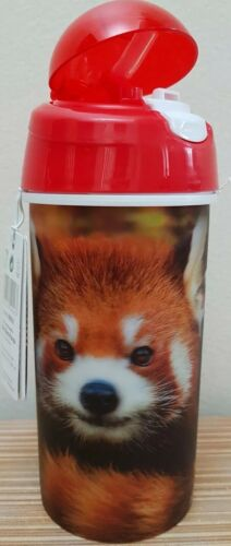 3d live life baby red panda 500ml Drinking  Water Bottle with soft Straw new