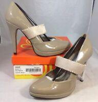 Gabriella Rocha Heels Size 8 1/2 Solid Shiny Dove Beige Slip On Strap Shoes