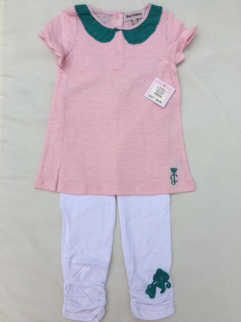 NWT Juicy Couture Pink Tunic With Green Collar And Leggings  Set Size 6/12 M