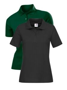 Womens-Ladies-Plain-BLACK-or-GREEN-65-35-Polycotton-Polo-Sports-Golf-Shirt