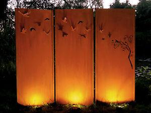Gartenwand Sichtschutz Wand Triptychon Schwarm Neu Stahl Rost