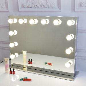 rahmenlos hollywood kosmetikspiegel mit beleuchtung b hne sch nheit spiegel ebay. Black Bedroom Furniture Sets. Home Design Ideas