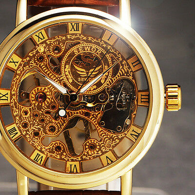 WINNER New Men's Skeleton Mechanical Watch Vintage Brown Leather Strap Reloj Uhr