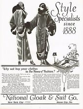 1920's BIG Old Vintage National Cloak & Suit Co. Flapper Fashion Art Print Ad b