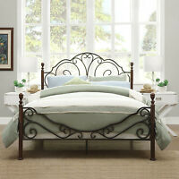 Antique Metal Bed Frame Bronze Iron Scroll Full Queen King Size