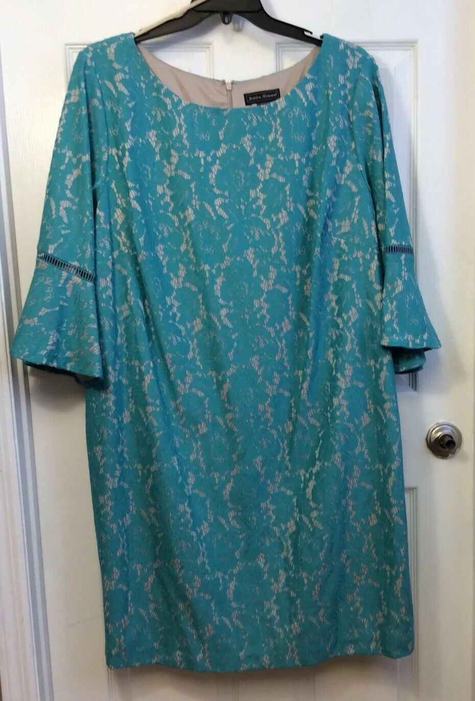 Jessica Howard Woman's Plus Size 24W Lace turquoise dress Bell Sleeves   NWT