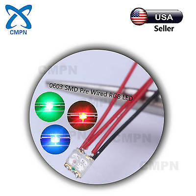 20Pcs 0603 1608 SMD Micro LED Chip Pre Wired Bi-Color Red//Blue SMT Light Diodes