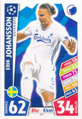 Match Attax Ligue des Champions 17//18-294-Erik Johansson-FC KOBENHAVN