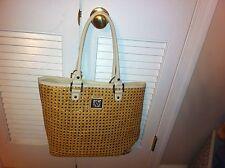 AK Anne Klein wicker-look straw/raffia tote bag-style handbag White Lion Purse