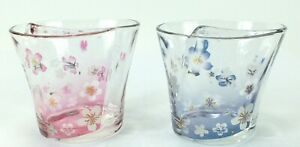 GEISHA-KIMONO-Glasses-Drinkware-with-CHERRY-BLOSSOMS-Pink-amp-Blue-Lot-of-2