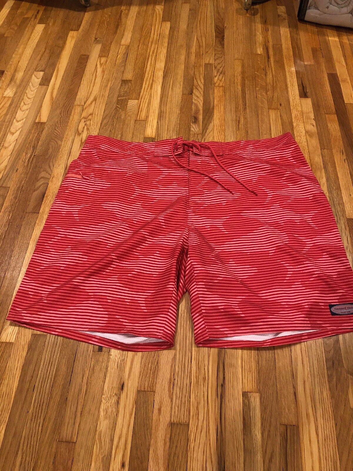 Vineyard Vines Sz 42 Board Shorts Swim Trunks Striped Red & Pink NWOT