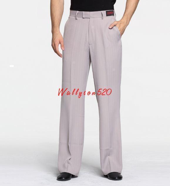 Mens Ballroom Latin Dance Loose stripe Straight Modern Practice Pants trousers @