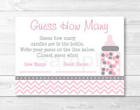 Modern Pink Chevron Printable Baby Shower guess How Many? Game Cards