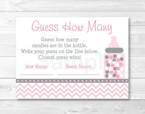 Modern Pink Chevron Printable Baby Shower Guess How Many Game