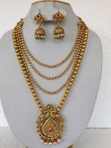 Bollywood Fashion Jewellery Gold Tone Stone Design Necklace With