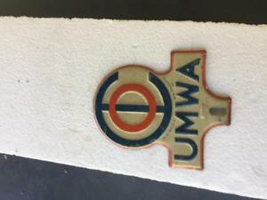 ESTATE 1940s TOPPER FIND LICENSE PLATE UMWA 1950s qww0rxX
