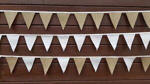 Mini-Bunting-1-50-M-16-Drapeaux-de-Hesse-coton-dentelle-tissu-mariage-fete-de-Noel