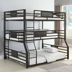 Modern Youth Teen Adult Space Saver 3 Tier Metal Bunk Bed Full Txl
