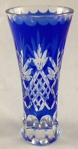 Cobalt-Blue-Crystal-Clear-Cut-Glass-Flared-Top-Pineapple-Leaves-Pattern-Bud-Vase