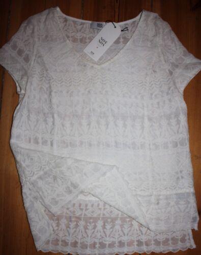 Cocktail Manches Emb Nouveau Kasbah White Xs Antique Noa Blouse Lace Taille Courtes qxSI0UUfw