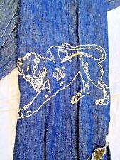 FABULOUS New PARASUCO Ergonomic Jeans Blue Linen EMBROIDERED Lion Womens  26