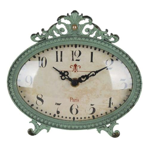 Shabby Chic clock table desk Pewter creative Vintage antiqued  home decor