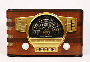 Old-Antique-Wood-Zenith-Vintage-Tube-Radio-Restored-Working-Art-Deco-Black-Dial