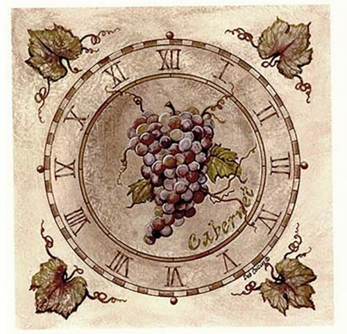 Cabernet Wine Grape Clock Square Select-A-Size Waterslide Ceramic Decals Xx