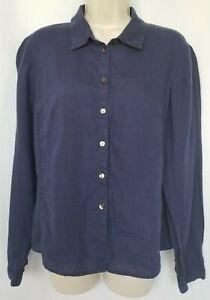 J-Jill-Womens-Top-Small-100-Navy-Blue-Long-Sleeve-Button-Down-Shirt-Blouse