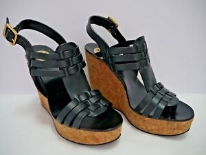 6e14cc92221 TORY BURCH Leslie black leather strappy wedge heels sandals size 7.5 ...