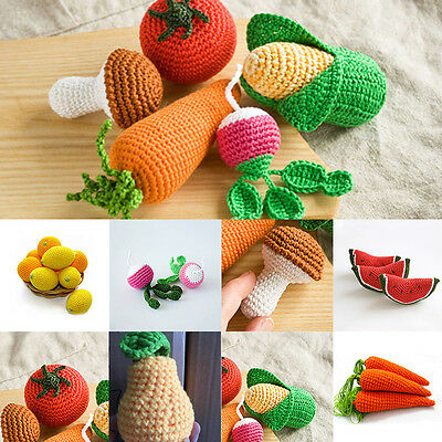 Handmade Baby Kids Crochet Knit Pretend Play Food Toys Gift Supermarket Kitchen
