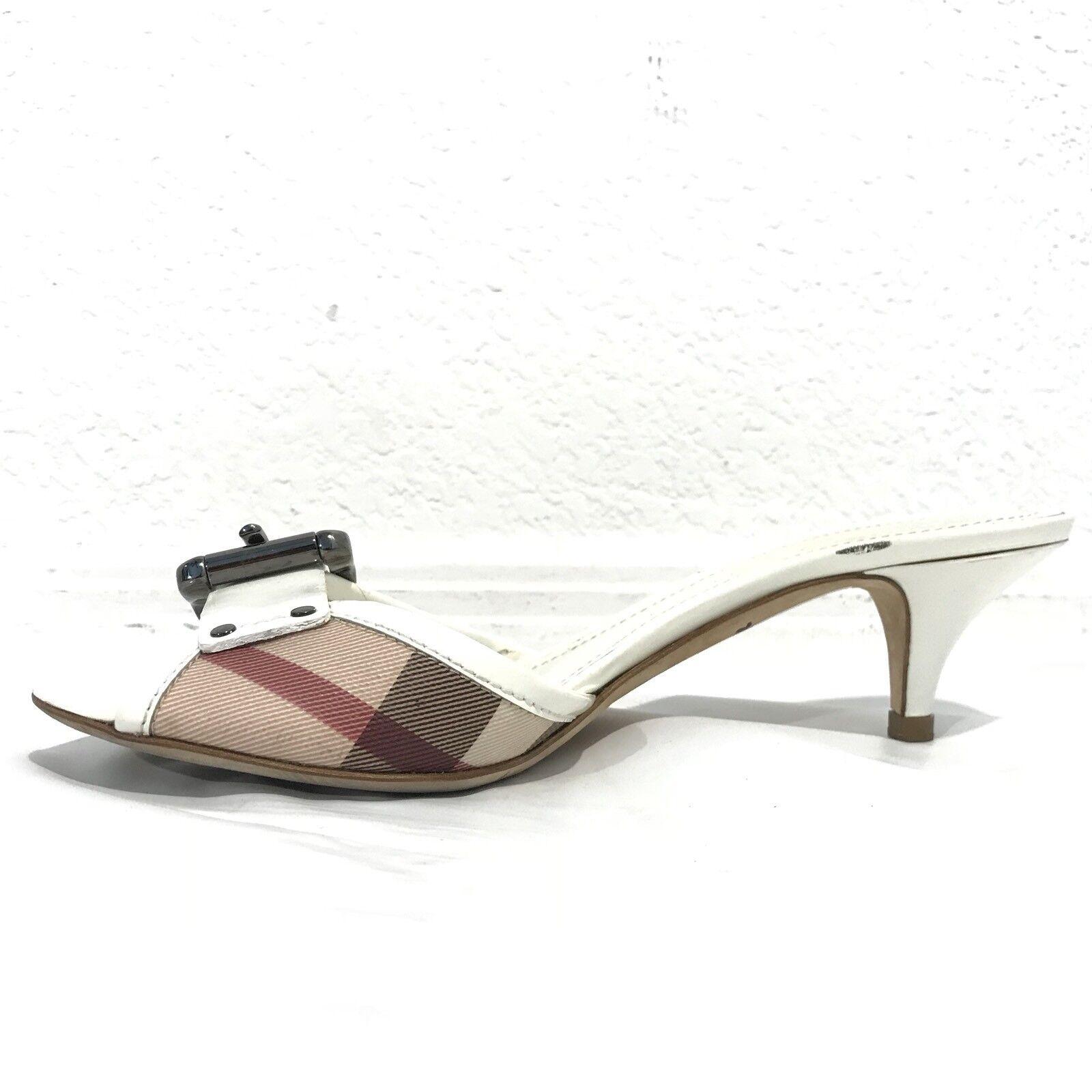 BURBERRY Nova Check Weiß 5.5 Kitten Heel Sandales Slides 5.5 Weiß 35.5 Plaid d9ed6f