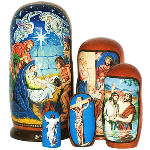 Nativity & life  of Christ   hand painted l RUSSIAN NESTING DOLL 5 PCS 7inches